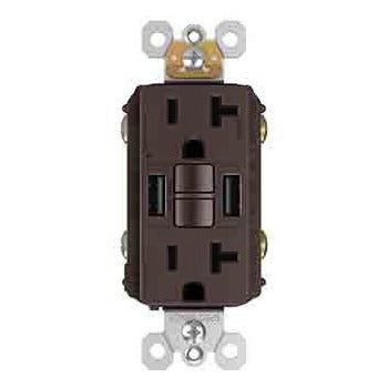 GFCI with USB-AA Charging Combo Outlet, Tamper Resistant, 20A, Dark Bronze
