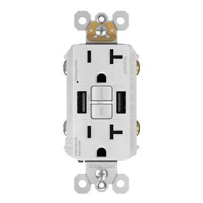 GFCI with USB-AA Charging Combo Outlet, Tamper Resistant, 20A, White