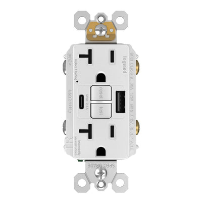 2097TRUSBACW, USB-AC Charging and GFCI Outlet, 20A, White, Front