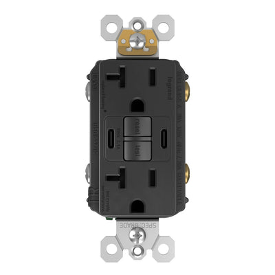 2097TRUSBCCBK, USB-CC Charging and GFCI Outlet, 20A, Black, Front