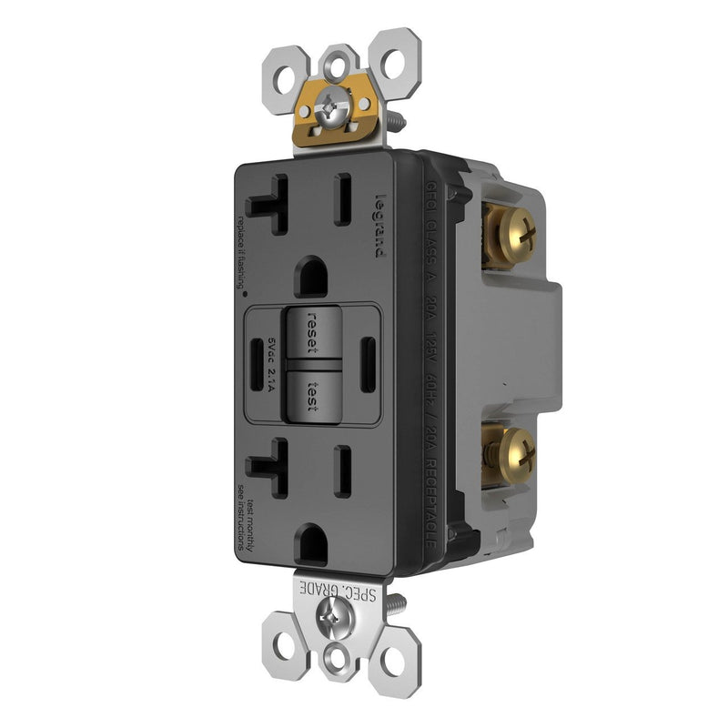 2097TRUSBCCBK, USB-CC Charging and GFCI Outlet, 20A, Black, Right Side