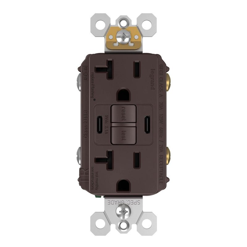 2097TRUSBCCDB, USB-CC Charging and GFCI Outlet, 20A, Dark Bronze, Front