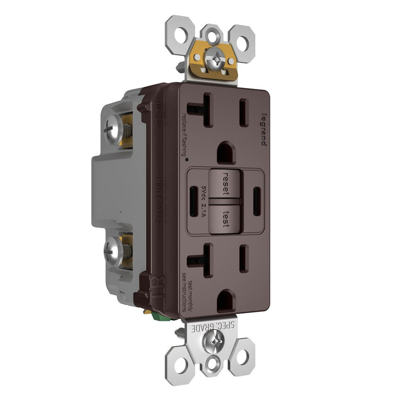 2097TRUSBCCDB, USB-CC Charging and GFCI Outlet, 20A, Dark Bronze, Left Side
