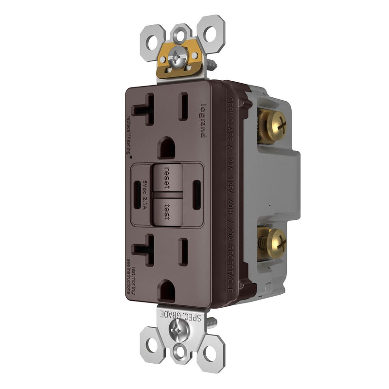 2097TRUSBCCDB, USB-CC Charging and GFCI Outlet, 20A, Dark Bronze, Right Side