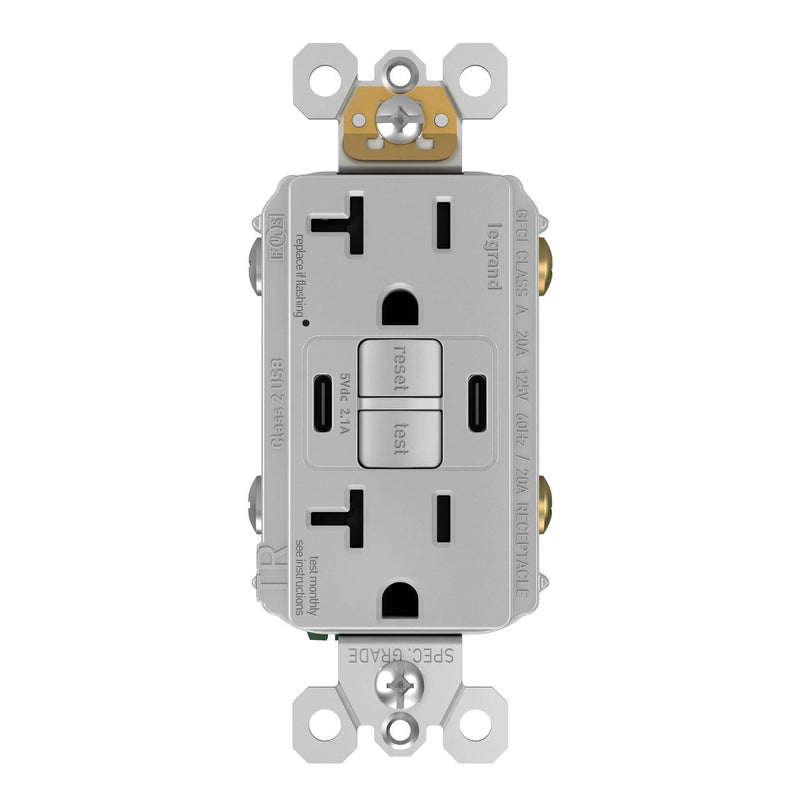2097TRUSBCCGRY, USB-CC Charging and GFCI Outlet, 20A, Gray, Front