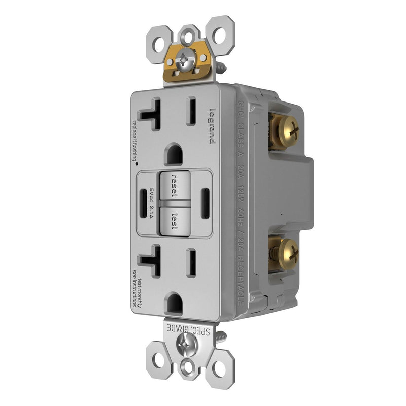 2097TRUSBCCGRY, USB-CC Charging and GFCI Outlet, 20A, Gray, Left Side