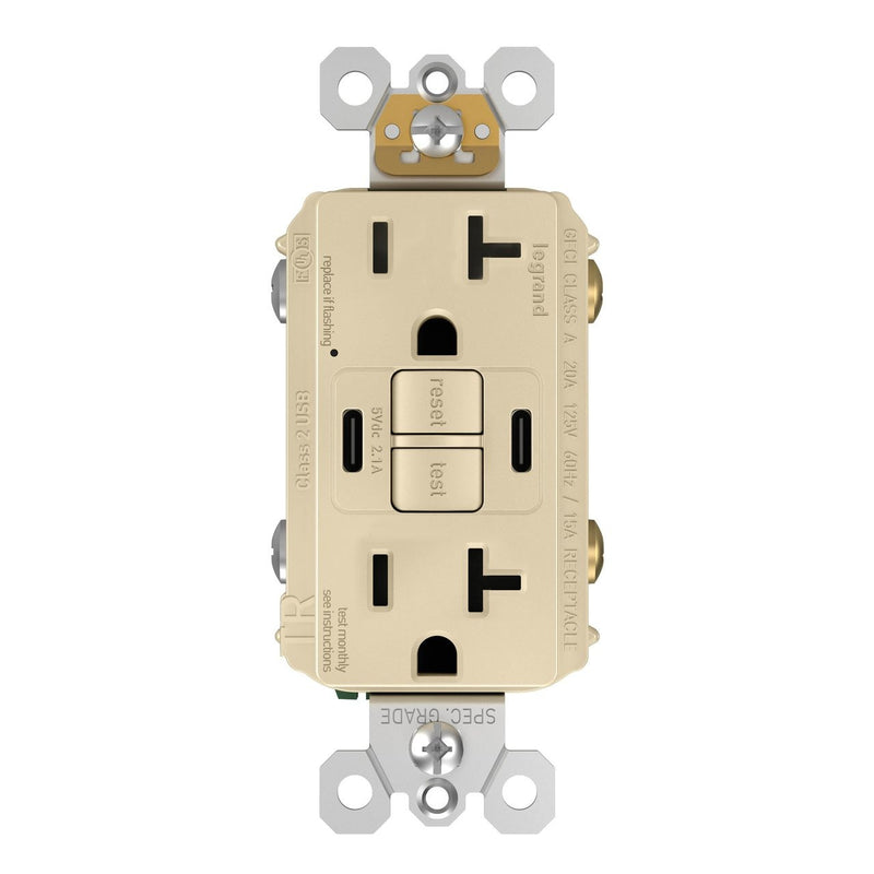 GFCI with USB-CC Charging Combo Outlet, TR, 20A, Ivory, Front