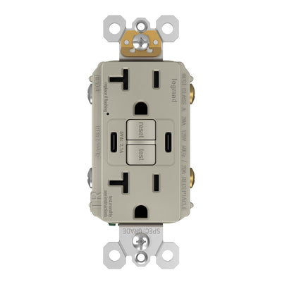 2097TRUSBCCNI, USB-CC Charging and GFCI Outlet, 20A, Nickel, Front