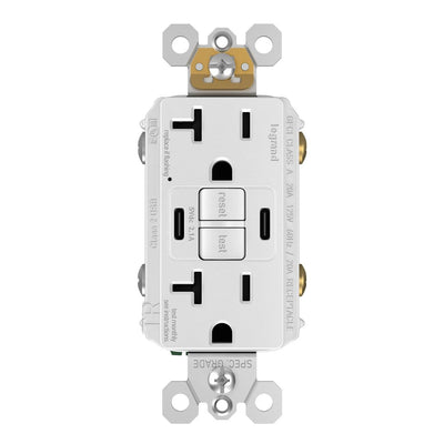2097TRUSBCCW, USB-CC Charging and GFCI Outlet, 20A, White, Front