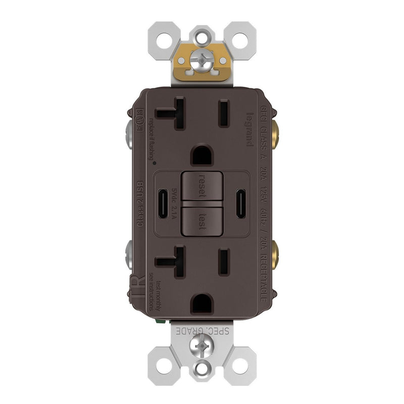 2097TRUSBCC, USB-CC Charging and GFCI Outlet, 20A, Brown, Front