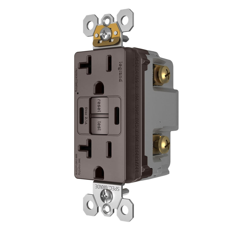 2097TRUSBCC, USB-CC Charging and GFCI Outlet, 20A, Brown, Left Side