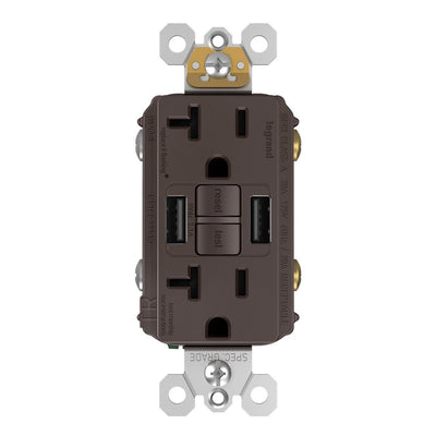 GFCI with USB-AA Charging Combo Outlet, Tamper Resistant, 20A, Brown