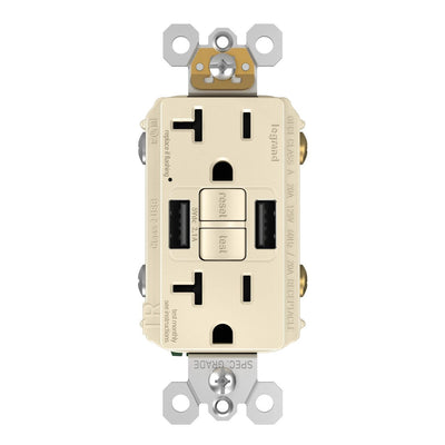 GFCI with USB-AA Charging Combo Outlet, Tamper Resistant, 20A, Light Almond