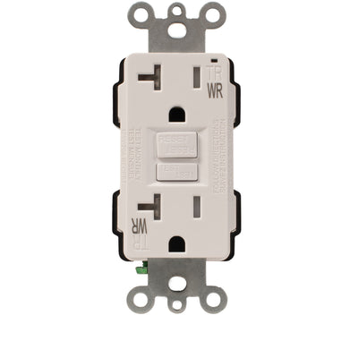 20Amp GFI Outlet, Load Out, Weather Resistant, Tamper Resistant, White