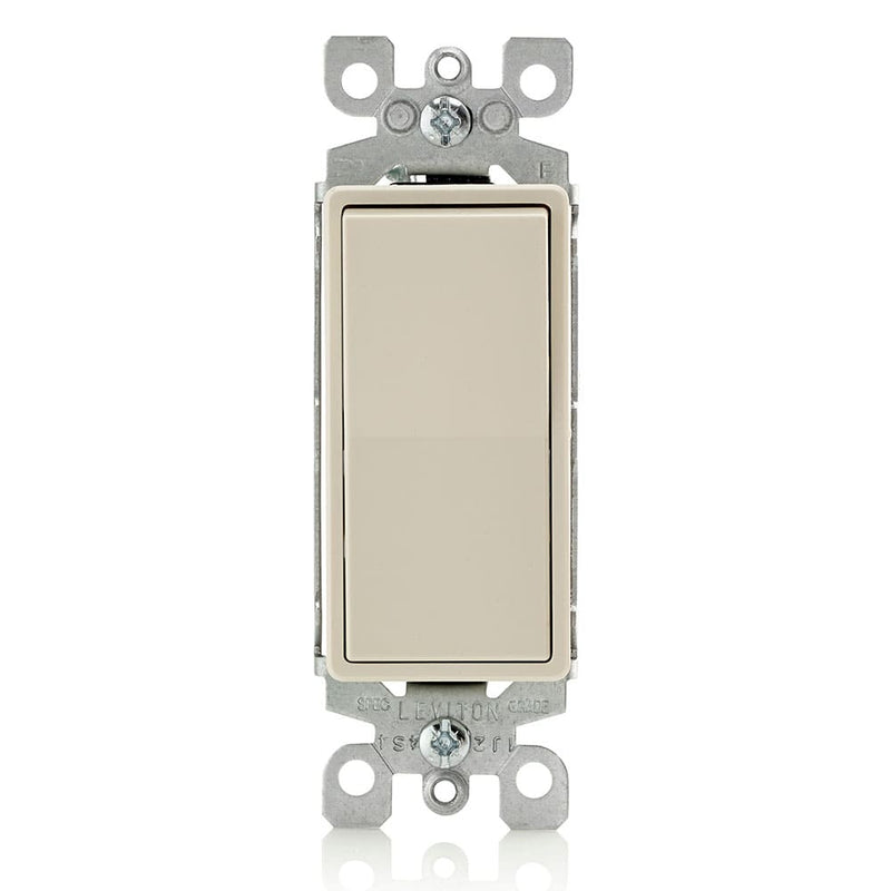 Leviton 5603-2W 15 Amp Decora Rocker 3-Way Quite Light Switch, Light Almond