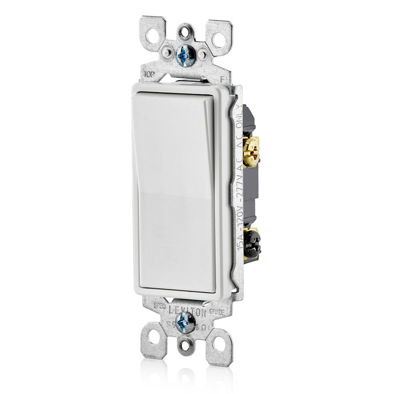 Leviton 5603-2W 15 Amp Decora Rocker 3-Way Quite Light Switch, White, Side View