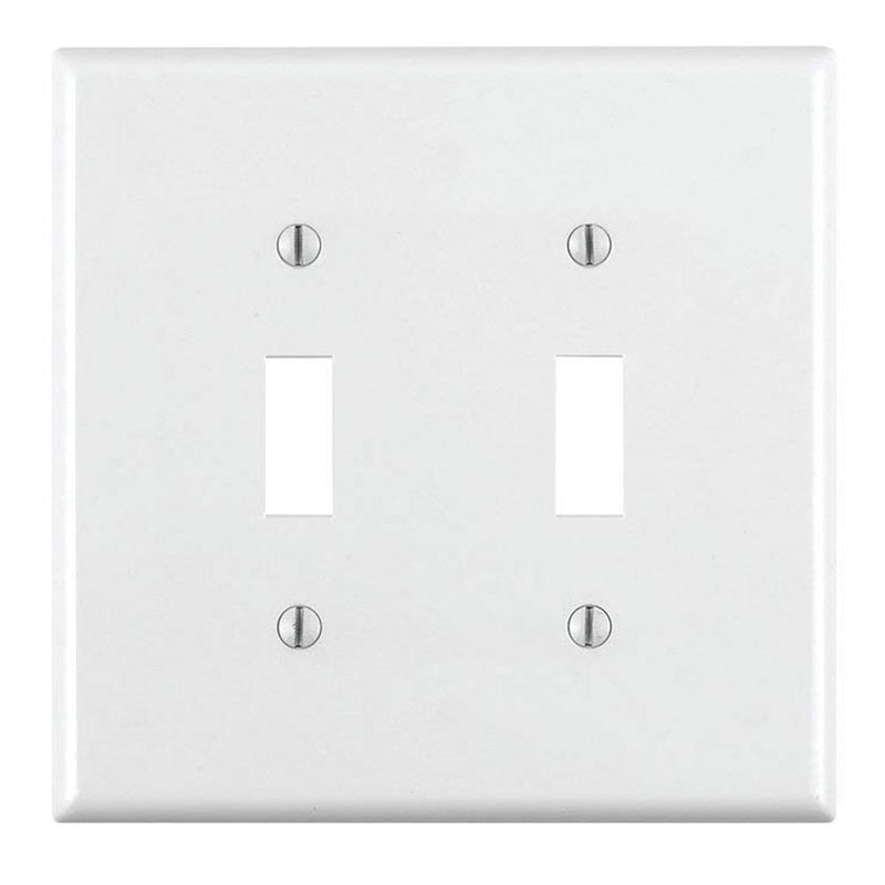 Leviton 80709-W 2-Gang Toggle Wallplate, white