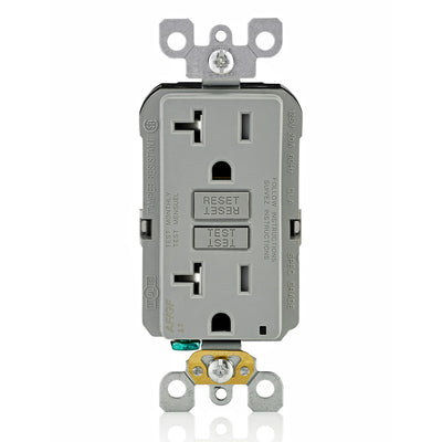 Leviton AGTR2-GY GFCI and AFCI Combo Dual Function Outlet, TR, Gray