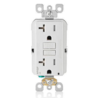 Leviton AGTR2-W GFCI and AFCI Combo Dual Function Outlet, TR, White