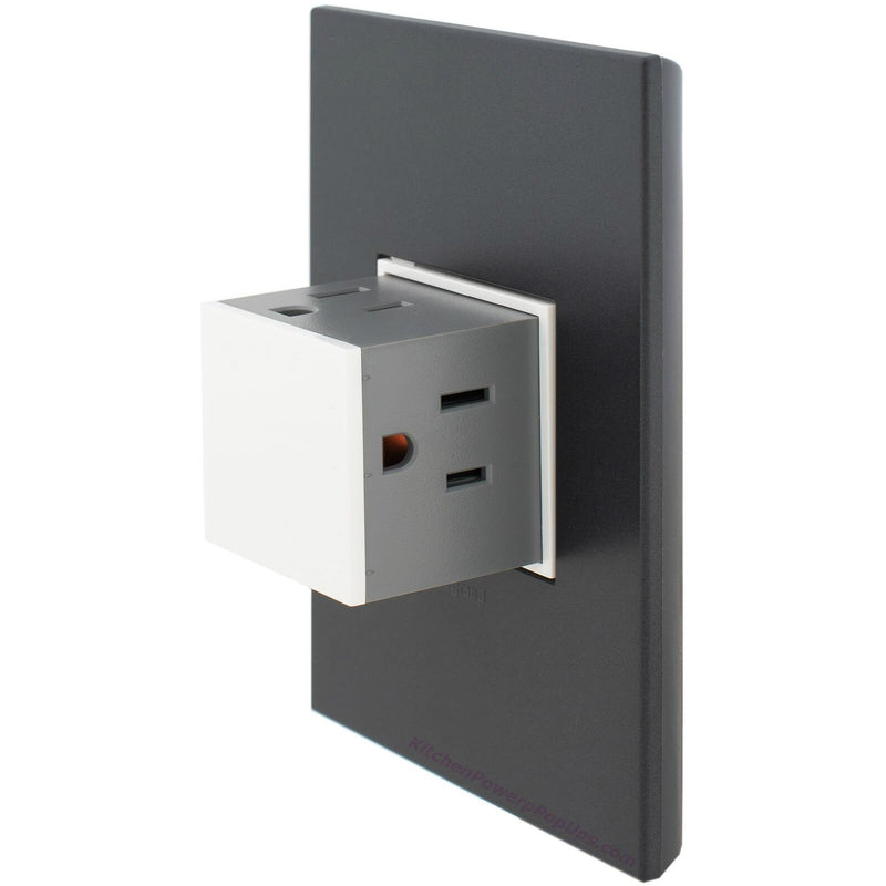 Adorne Gloss White 15A Pop-Out with Graphite Wall Plate