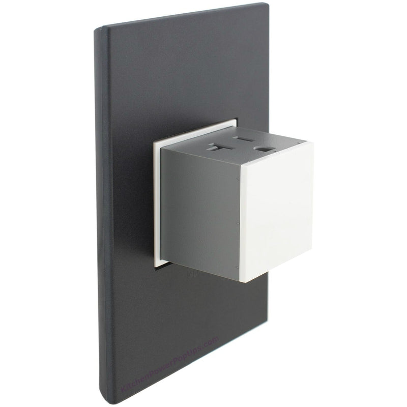 Adorne Gloss White 20A Pop-Out with Graphite Wall Plate