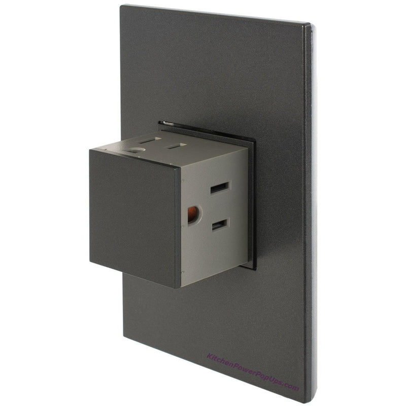 Adorne 3 Outlet Pop-Out 15A Graphite Outlet and Graphite Wall Plate - Open
