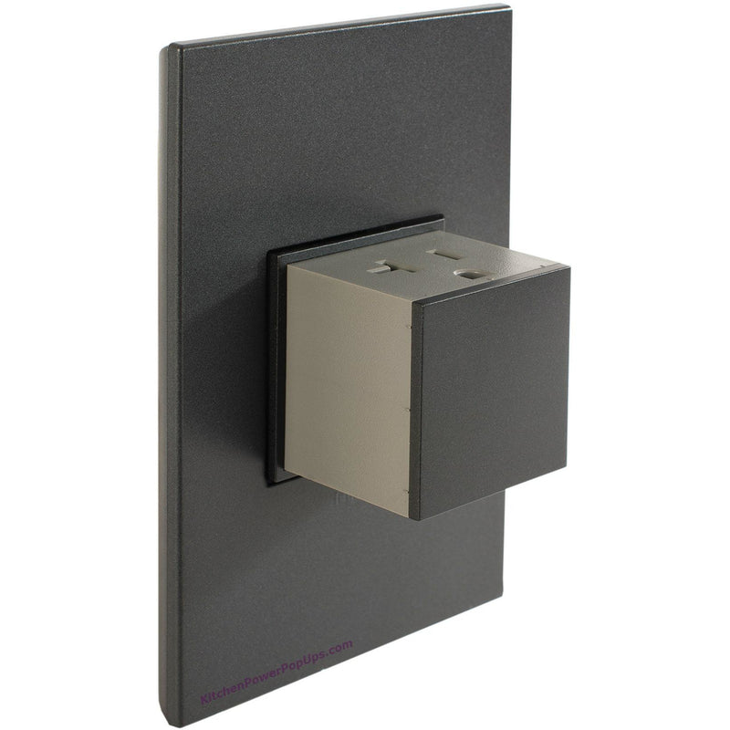 Adorne Pop-Out 20A Graphite Outlet with Graphite Wall Plate - Open