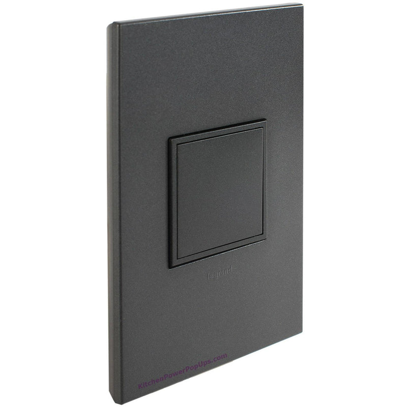 Adorne Pop-Out 20A Graphite Outlet with Graphite Wall Plate - Closed