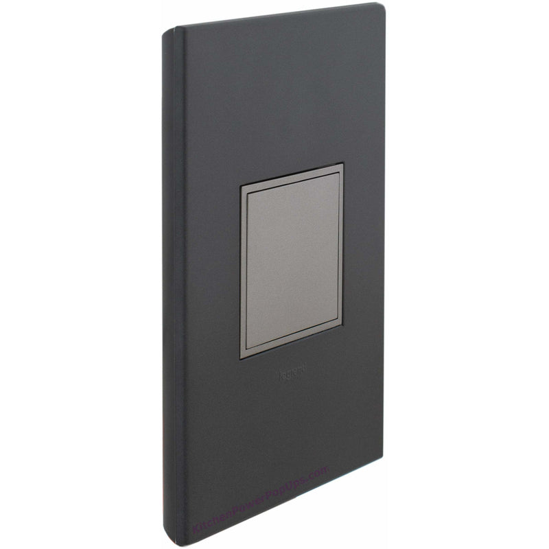 Adorne Pop-Out Graphite Wall Plate and Magnesium Outlet - Closed