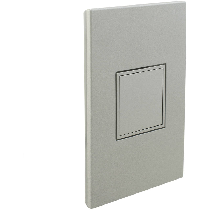Adorne Pop-Out 20A Outlet with Matching Wall Plate Kit, Magnesium- Closed