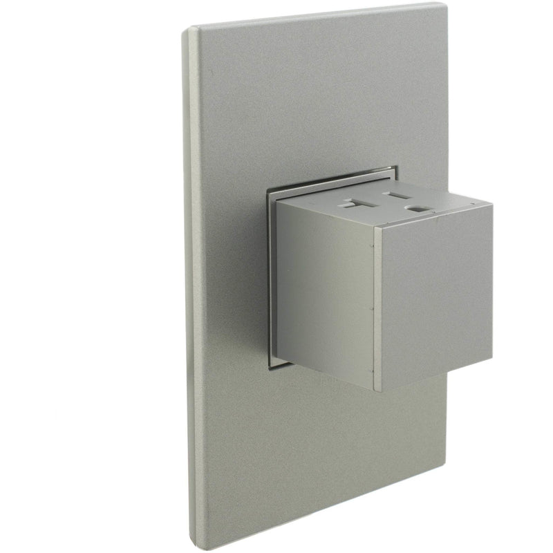 Adorne Popped-Out 20A Outlet with Matching Wall Plate Kit, Magnesium