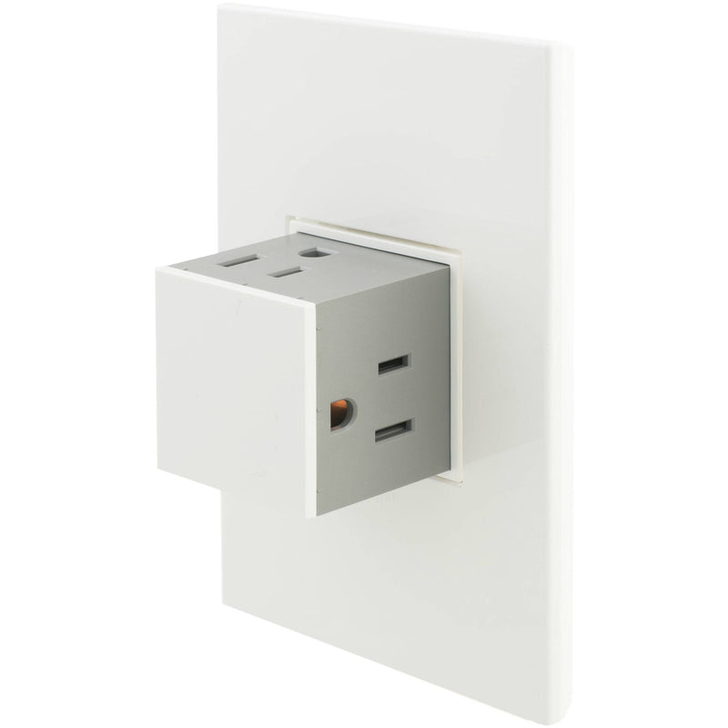 Adorne Pop-Out 15A Outlet with Matching Wall Plate Kit, Gloss White
