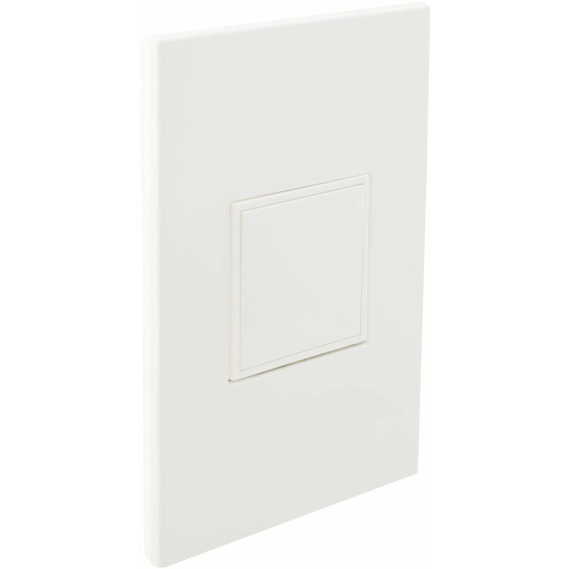 Adorne Pop-Out 20A Outlet with Matching Wall Plate Kit, Gloss White- Closed