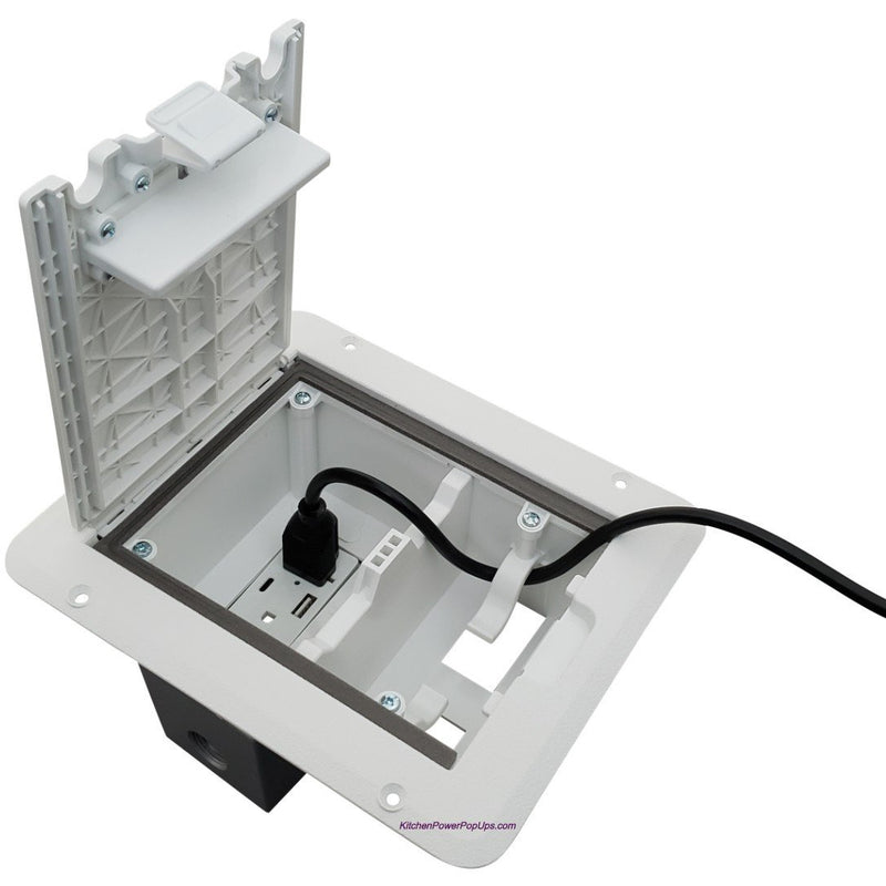Outdoor Weatherproof Deck Outlet Box, 20A Power, USB Charging, White, Open Showing Cord Coming Out