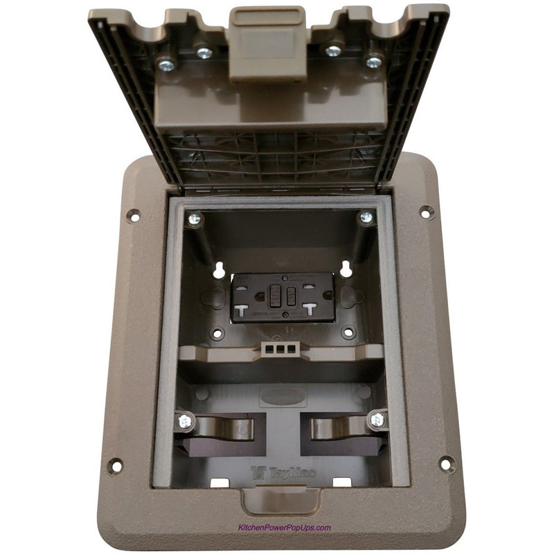 Outdoor Weatherproof Deck Outlet Box, 20A Power, GFCI, Brown