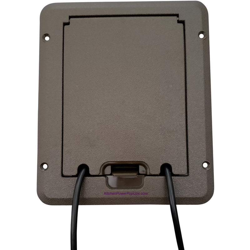 Weatherproof Deck Outlet Box, Closed, Showing Cord Coming Out, Brown