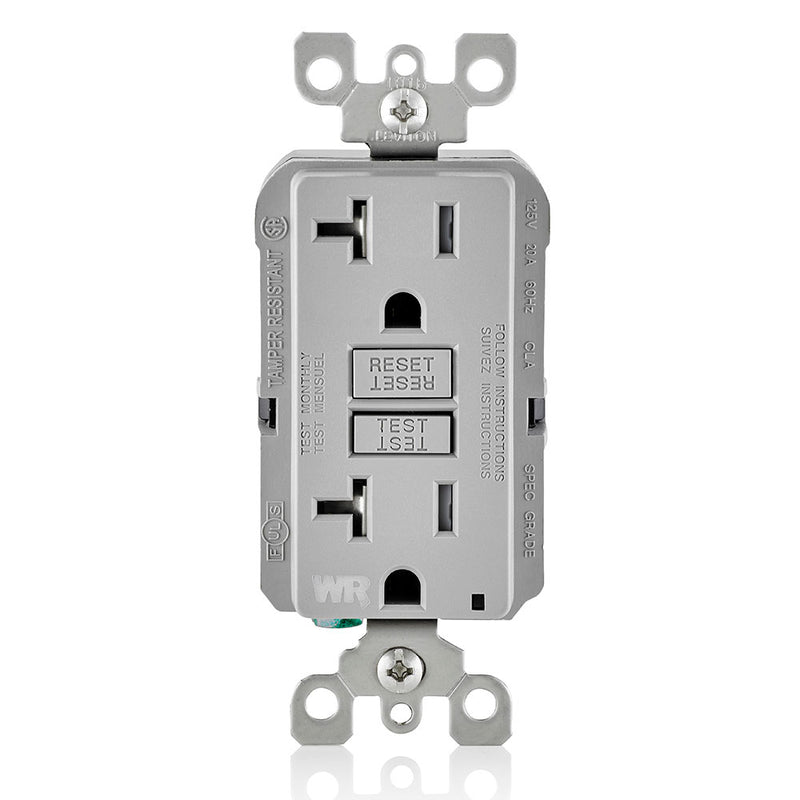 Leviton GFWT2-GY 20A GFI Slim Outlet, Weather & Tamper Resistant, Gray - Front
