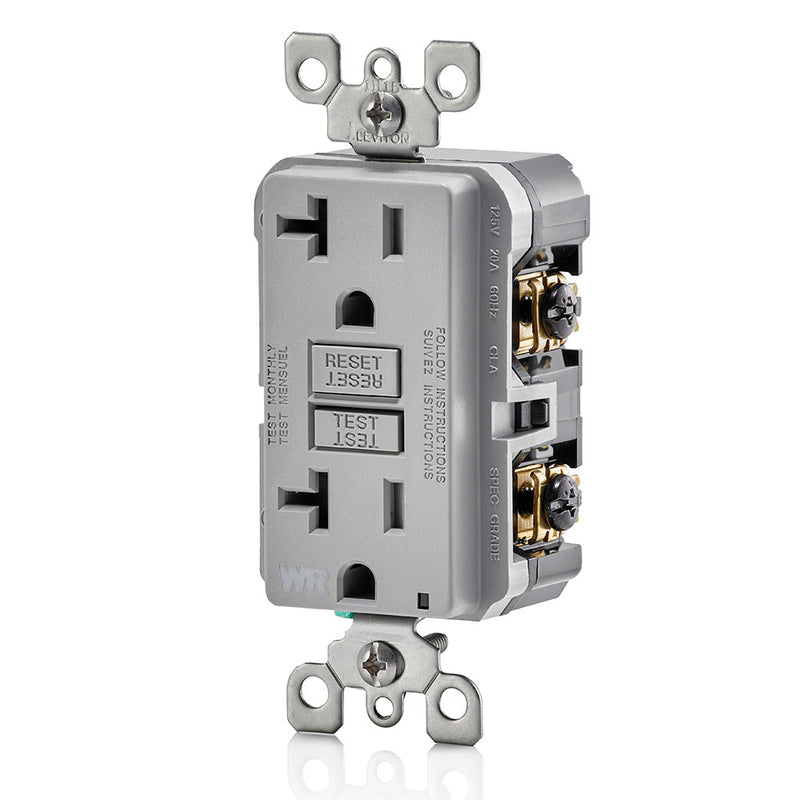 Leviton GFWT2-GY 20A GFI Slim Outlet, Weather & Tamper Resistant, Gray - Side