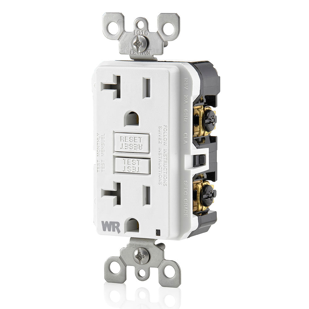 20A GFCI Slim Outlet, Self Testing, Weather & Tamper Resistant, White