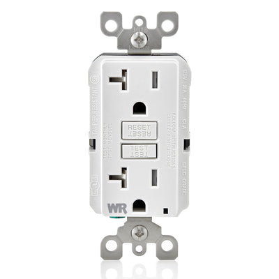 Leviton GFWT2-GY 20A GFI Slim Outlet, Weather & Tamper Resistant White