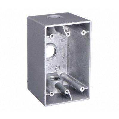 Hubbell 5385-0 Weatherproof Electrical Box, 1 Gang, 3-Inlet