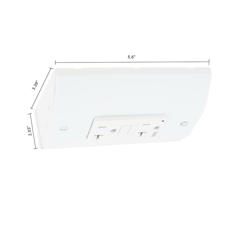 Under Cabinet Angled Power Strip Low Profile 20A GFI 2 Plugs - White