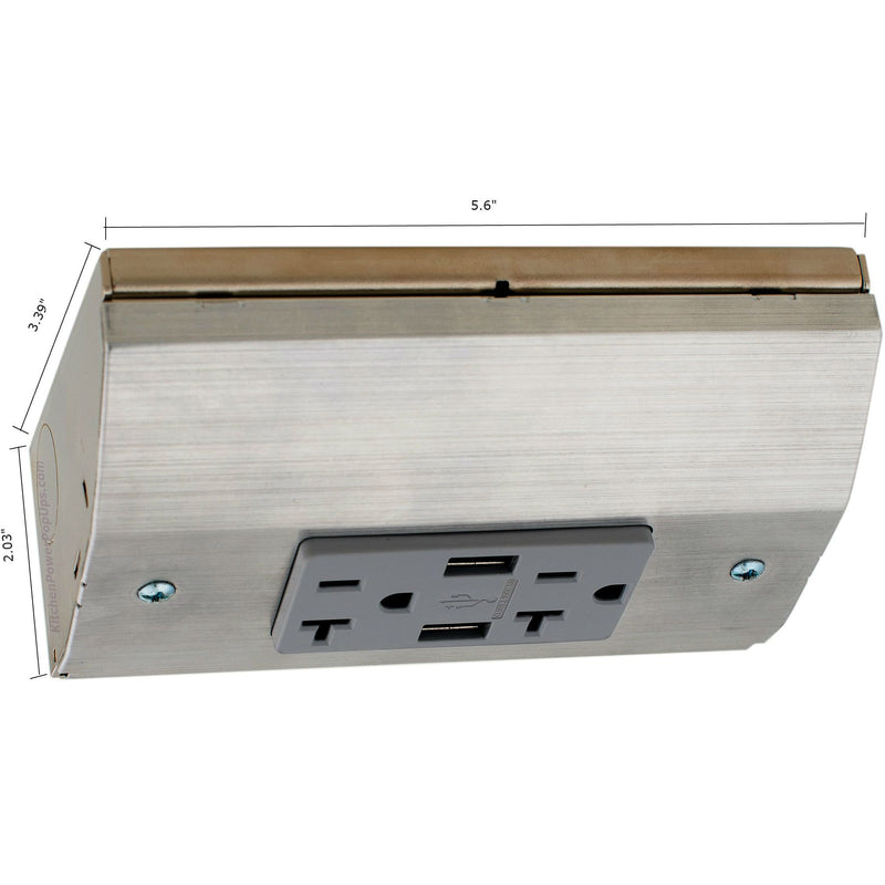 Under Cabinet Angled 20A 2 Power Strip, 2 Charging USB-A, Stainless