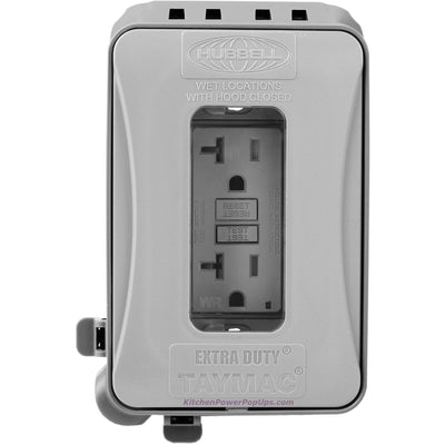 ML500G Gray Outdoor Weatherproof Wall Box with Matching GFCI Outlet