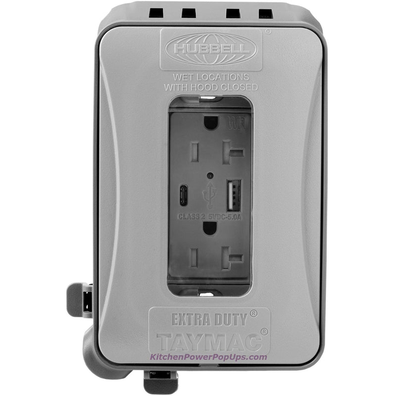 ML500G Gray Outdoor Weatherproof Wall Box with USB Charging WR Outlet