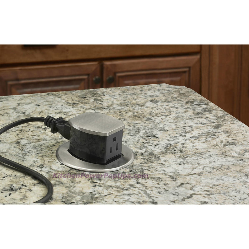 Hubbell RCT200ALU Waterproof Dual Sided Pop Up Counter Outlet Aluminum installed