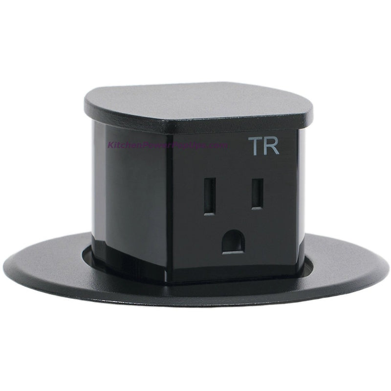 Hubbell RCT200BK Waterproof Dual Sided Pop Up Counter Outlet Black