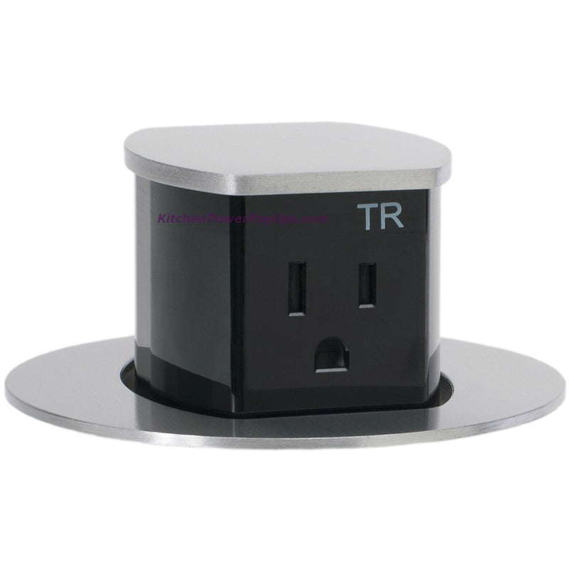 Countertop Pop Up 2 Sided Spill Proof Power Outlet, Flush Mount, Aluminum