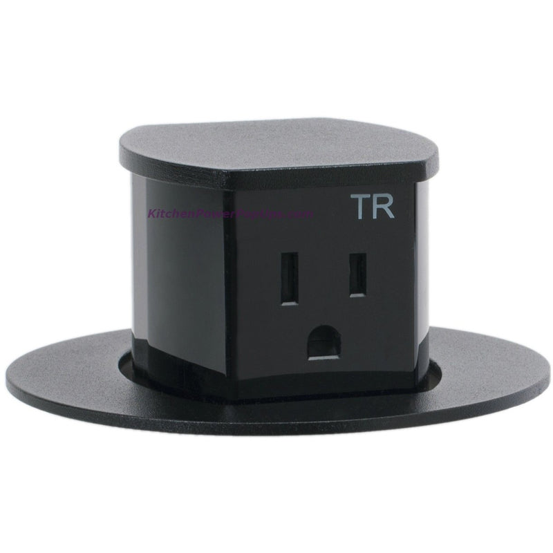 Hubbell RCT201BK Waterproof Pop Up Flush Mount Counter Outlet - Black - Popped Up