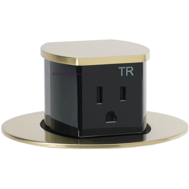 Hubbell RCT201BR Waterproof Pop Up Flush Mount Counter Outlet - Brass - Popped Ups